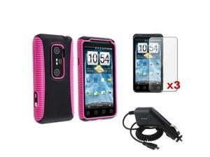 Pink Black TPU Hard Hybrid Case Cover+3x LCD Protector+DC Charger compatible with HTC EVO 3D