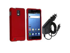 Red Rubber Coated Hard Skin Case+In Car Charger compatible with Samsung© Infuse 4G i997 NEW