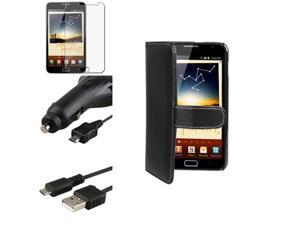 compatible with Samsung© Galaxy Note N7000 Wallet Flip Card Leather+LCD Pro+Car Charger+Cable