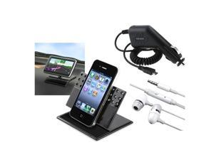 3in1 Car Accessory Bundle compatible with HTC EVO 4G T-Mobile G2