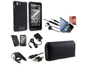 8in1 Accessory Bundle compatible with Motorola Droid X MB810 Leather Case Headset Charger