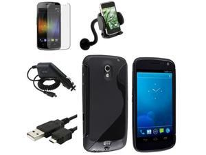 5x Accessory Black TPU Case+Charger+Mount compatible with Samsung© Galaxy Nexus i515 i9250