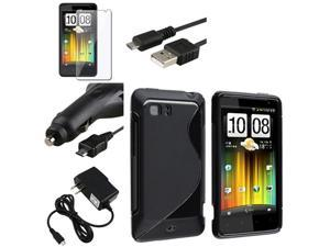 Black S Line TPU Skin Case Cover+Pro+Home+Car Charger+USB compatible with HTC Holiday Vivid