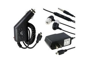 Car+AC Charger +Headset Compatible With Blackberry Curve 8310 8300