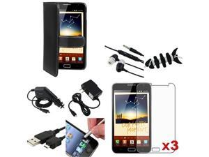 compatible with Samsung© Galaxy Note N7000 Mega Accessory Black Leather Case+Film+Headset+USB