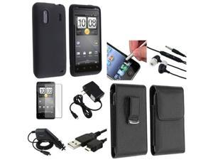 8in 1 Accessory Case Charger Cable Leather Bundle compatible with HTC Hero S EVO Design 4G