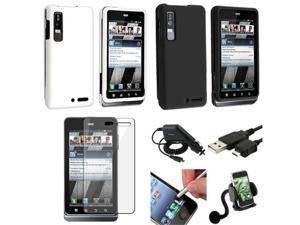 7 Accessory Bundle Black Clear Hard Case Guard Stylus compatible with Motorola Droid 3 XT862