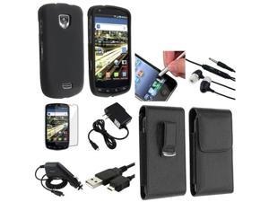 8in 1 Accessory Black Hard Case Leather Headset Pro Bundle compatible with Samsung© Droid