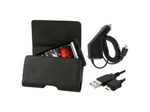 Car Charger+Leather Case+Cable compatible with HTC ThunderBolt HD7