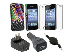 Snap-on Case+2pc film+Cable+2 Chargers For iPhone® 4 4S 4G 4GSG 4