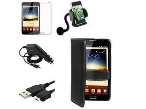 5in1 Bundle compatible with Samsung© Galaxy Note N7000 Leather Case+Charger+Holder+LCD SP