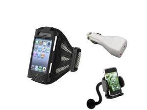 Black/Silver Armband Sportband Case Cover Skin+Car Mount+Charger For iPhone® 4 4S