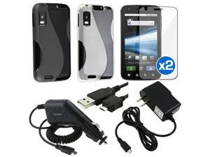 2x Black White TPU Skin Case+Car+Home Charger+USB+2x Guard compatible with Motorola Atrix 4G