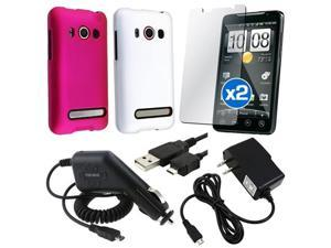 White+Pink 2in1 Hard Case+2x Charger+2x Protector+USB compatible with HTC EVO 4G Sprint