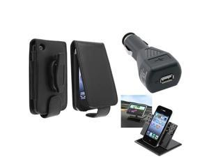 Card Holder Belt Clip Black LeatherCase+Charger+Car Mount For iPhone® 3 3G 3GS