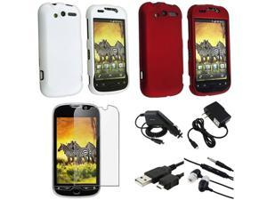 compatible with HTC Mytouch 4G White+Red Hard Case Cover+DC Car+AC Charger+Pro+USB+Headset