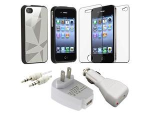 Silver Aluminum Flake Case+Car+Home Charger+2 Guard+Cable for iPhone® 4 4S G