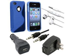 5 Accessory Car Charger Case Bumper Pack for Verizon AT&T Sprint iPhone® 4 G 4S
