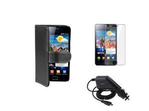 Black Leather Case Skin Cover+Car Charger+Film compatible with Samsung© Galaxy S II i9100