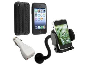 Tire Black Rubber Silicone Case Cover+Car Charger+Mount For iPhone® 3G 3rd G 3GS