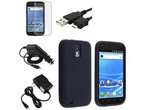 Black 5in 1 Accessory Bundle Case Charger compatible with Samsung© Galaxy S2 T989 T-Mobile