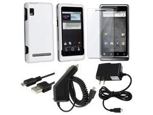 White Case+LCD+Charger+USB compatible with Motorola Droid 2 Global