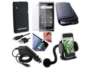 7 Bundle compatible with Motorola Droid 2 Global Black Case Cover Stylus Leather Charger