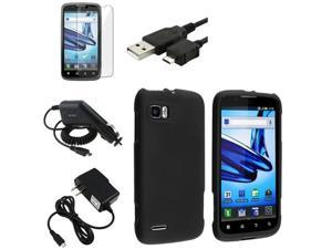 Black Hard Case Cover+LCD Film+2 Charger+Cable compatible with Motorola Atrix 2 MB865