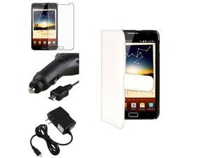 compatible with Samsung© Galaxy Note N7000 White Flip Leather Wallet Case+LCD Cover+2 Charger