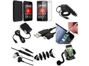 9 Accessory Bundle Black Hard Cover Case+LCD+More compatible with Motorola Droid 4 XT894