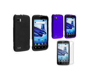 3 Accessory Black+Blue Hard Rubber Case+LCD Cover compatible with Motorola Atrix 2 MB865