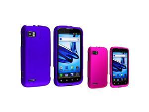 2 Accessory Blue+Pink Hard Skin Cover Phone Case For Motorola Atrix 2 MB865
