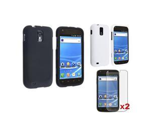 Black+White Rubber Hard Case+2 LCD Cover compatible with Samsung© Galaxy S2 T989 T-Mobile