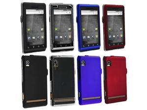 4 Hard Black Clear Blue Red Case Accessory Bundle For Motorola Droid A855