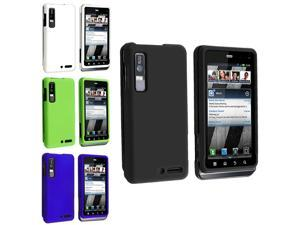 4pcs Black+White+Blue+Green Rubber Hard Case Cover For Motorola Droid 3 XT862