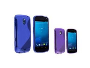 2pc Blue+Purple S-Line Rubber Skin TPU Case compatible with Samsung© Galaxy Nexus i515 i9250