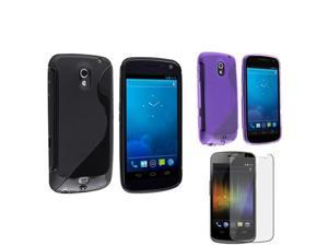Black+Purple TPU Skin Case+Screen Protector compatible with Samsung© Galaxy Nexus i515 i9250