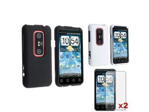 Black+White Snap-on Rubberized Hard Case Cover+2pc LCD Guard Film For HTC EVO 3D