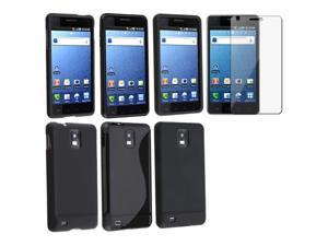 4in1 3x Black TPU+Silicone+Rubber Case+LCD Protector compatible with Samsung© Infuse 4G i997