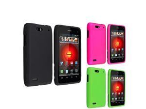 3x Black+Pink+Green Rubber Hard Skin Case Cover Phone For Motorola Droid 4 XT894