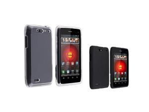 2pc Snap-on Clear+Black Hard Skin Phone Case Cover For Motorola Droid 4 XT894
