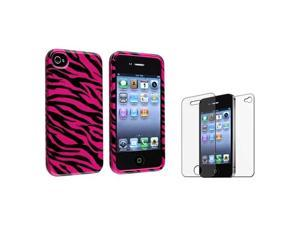 Hot Pink/Black Zebra Hard Case Cover+Anti-Glare Guard Protector Compatible With iPhone® 4 4S