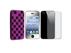 Purple/Black Checker Hard Snap-on Case Cover+MIRROR Protector Compatible With iPhone® 4 G 4S