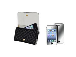 Wallet Black Leather Case Skin+Mirror LCD Protector Film Compatible With iPhone® 4 4th 4S 4GS