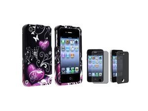 Purple Heart Hard Case Skin Compatible With iPhone® 4 4S+Privacy Screen LCD Protector Filter