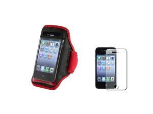Red Sportband Armband Skin Case Cover+Glitter Diamond Guard Compatible With iPhone® 4 4G 4S