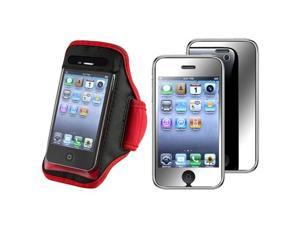 Red/Black Gym SportBand Armband Case Cover+Mirror LCD Guard Compatible With iPhone® 3 G 3GS