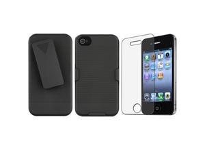 Black Swivel Holster with Stand+Anti-Glare Screen Protector Compatible With iPhone® 4 G 4S GS