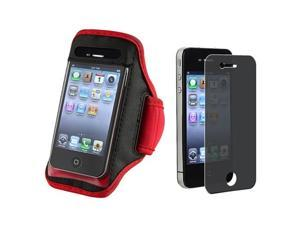 SportBand Armband Red/Black CASE Cover+PRIVACY LCD FILTER Compatible With iPhone® 4 G 4GS 4S