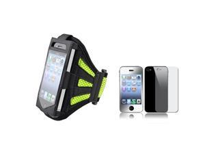 Black/Green Armband Sportband Case+Front Back Mirror LCD Guard Compatible With iPhone® 4 4S